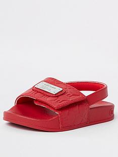 river-island-mini-mini-boys-ri-monogram-sliders-red