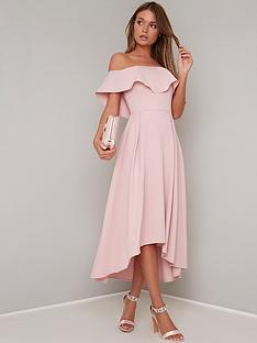 249026d4c1 Chi Chi London Wanda Bardot Frill Midi Dress - Mink