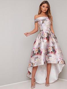 3bd50549eebab Chi Chi London Gail Printed Bardot High Low Dress