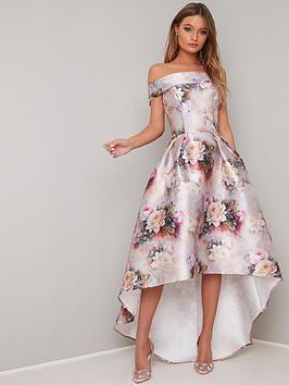 chi-chi-london-gail-printed-bardot-high-low-dress
