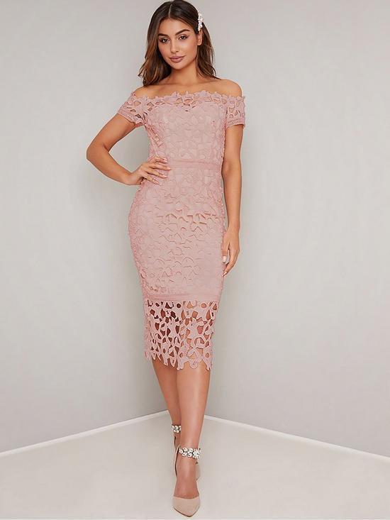 23bae5caadb7 Chi Chi London Victoire Bardot Lace Midi Dress - Pink   very.co.uk