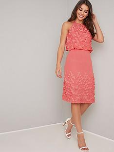 693dc70b871 Chi Chi London Patti 3D Floral High Neck Midi Dress - Coral