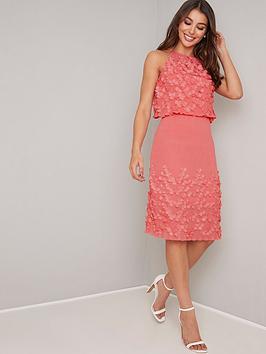 chi-chi-london-patti-3d-floral-high-neck-midi-dress-coral