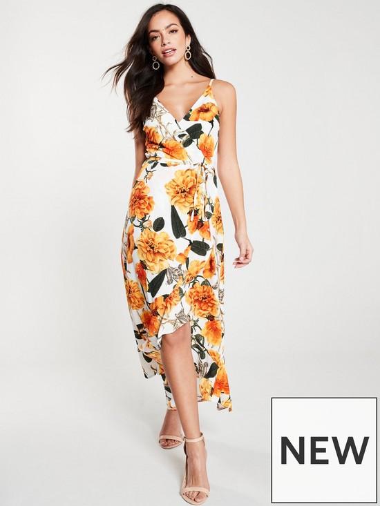 a7493f68020d AX Paris Floral Wrap Midi Dress - Orange/Cream | very.co.uk