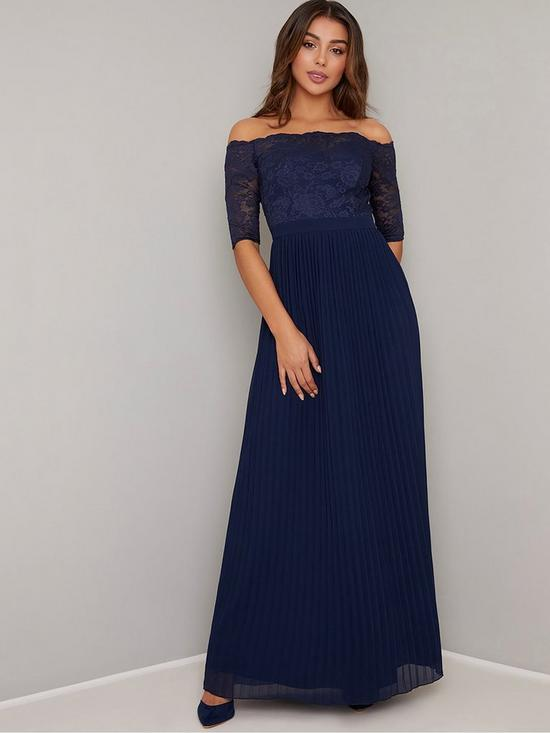 16ffd02fe363 Chi Chi London Ellory Lace Bardot Maxi Dress - Navy | very.co.uk