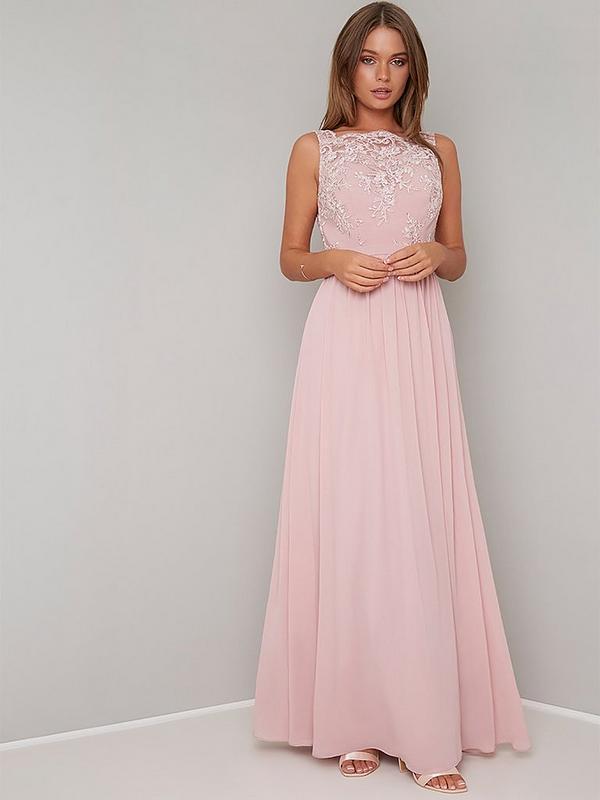 Esra Lace Top Maxi Dress Mink