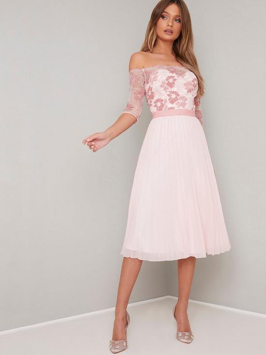 b6f4e2f749dd Chi Chi London Selda Lace Bardot Midi Dress - Pink   very.co.uk