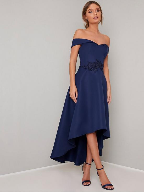 99ee0ce9c8 Chi Chi London Amour Bardot High Low Dress - Navy | very.co.uk