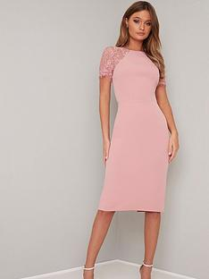 df30c24897 Chi Chi London Shannon Lace Back Detail Midi Dress - Pink