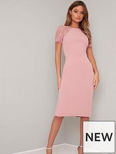 09a4b8e8cd Chi Chi London Shannon Lace Back Detail Midi Dress - Pink