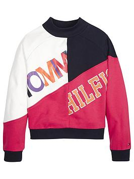 tommy-hilfiger-girls-colour-block-logo-crew-sweatshirt-navypink