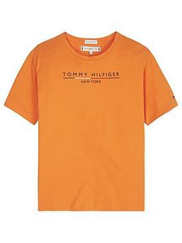 tommy-hilfiger-girls-short-sleeve-logo-t-shirt-orange
