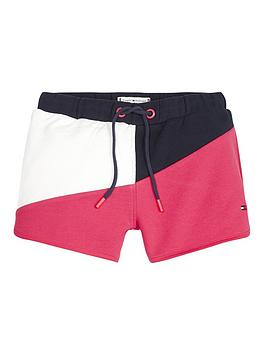 tommy-hilfiger-girls-colour-block-jersey-shorts-navypink
