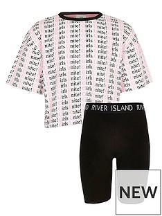 7f38d8d78f1 River Island Girls Unite Print T-Shirt Outfit - White