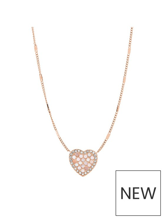 507f54dcfbb8 Fossil Fossil Vintage Glitz Mother of Pearl and Rose Gold Mosaic Heart  Pendane Ladies Necklace