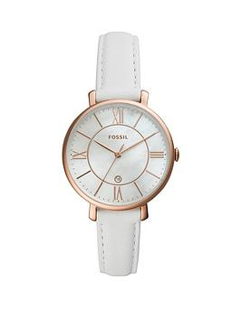 fossil-fossil-jacqueline-mother-of-pearl-and-rose-gold-detail-date-dial-white-leather-strap-ladies-watch