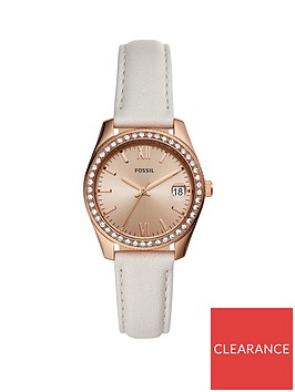 fossil-fossil-scarlette-rose-gold-crystal-set-daydate-mini-dial-white-leather-strap-ladies-watch