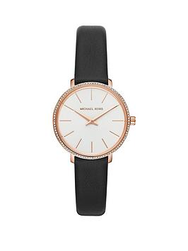 michael-kors-mk2835-pyper-silver-sunray-and-rose-gold-detail-mini-dial-black-leather-strap-ladies-watch