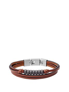 fossil-fossil-wild-at-heart-brown-leather-triple-layer-beaded-mens-bracelet