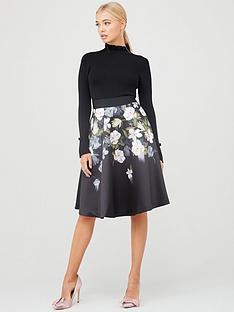 ted-baker-nerida-opal-printed-full-skirted-dress-black