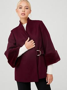 ted-baker-margalonbspfaux-fur-cuff-belted-swing-coat-deep-purple