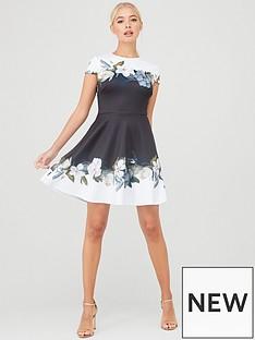 ted-baker-louva-opal-printed-skater-dress-black