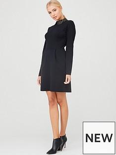 ted-baker-calliea-applique-collar-skater-dress-black