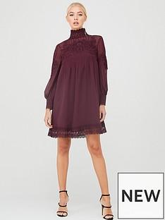 ted-baker-anneah-high-neck-lace-long-sleeve-tunic-dress-deep-purple