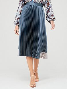ted-baker-glaycie-contrast-panel-pleat-midi-skirt-mid-blue