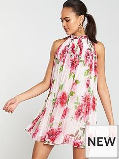 bdbe0767f60e River Island River Island Floral Cut Away Pleated Swing Dress-floral