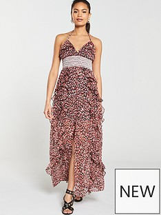 river-island-river-island-red-leopard-ruffle-deatil-maxi-dress--red
