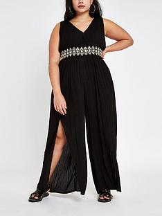 559677c82e RI Plus Ri Plus Diamante Trim Beach Jumpsuit- Black