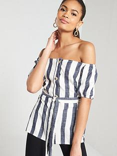 ace7b56a25425 River Island River Island Stripe Button Through Tie Waist Bardot Top- Stripe