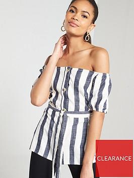 river-island-river-island-stripe-button-through-tie-waist-bardot-top--stripe