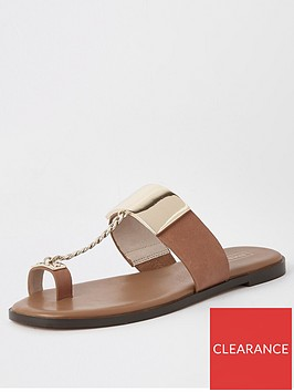 river-island-river-island-chain-toe-post-flat-sandal-tan