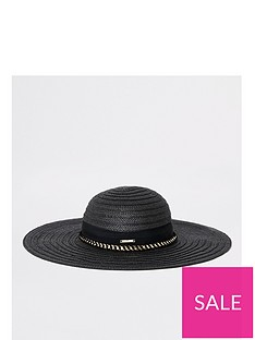 1fe114a8 River Island River Island Oversized Floppy Straw Hat-black