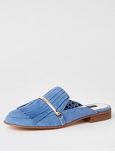 32951496fb4 River Island River Island Leather Fringed Slip On Loafer- Blue