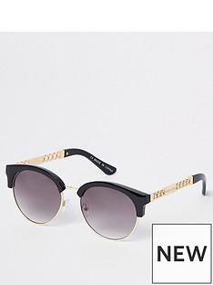 river-island-river-island-chain-trim-retro-sunglasses--black