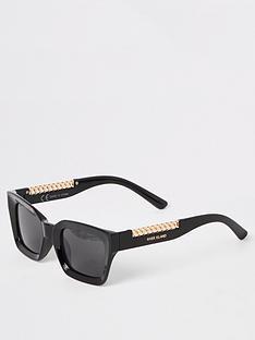 2156e4329a6e River Island River Island Chain Trim Visor Sunglasses- Black