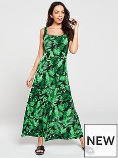beff4bcb21 V by Very Leaf Print A-Line Jersey Midi Dress - Tropical