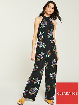 v-by-very-halter-neck-spot-floral-jumpsuit-black