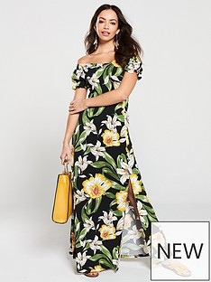 347207d72f7 V by Very Floral Jersey Off The Shoulder Maxi Dress - Black