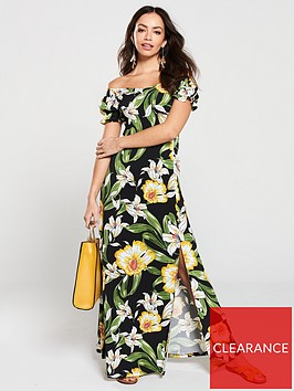 v-by-very-floral-jersey-off-the-shoulder-maxi-dress-black
