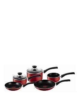 tefal-5-piece-aluminium-bistro-pan-set-red