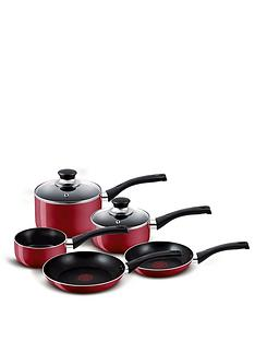 tefal-5-piece-aluminium-bistro-pan-set-red