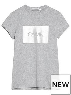 7dd64d647bf Calvin Klein Jeans Girls Box Slim Fit Short Sleeve T-shirt - Light Grey