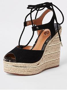 5f772cc77724 River Island Rope Tie Up Wedge- Black