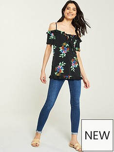 b24e75e91b3 V by Very Floral Printed Cold Shoulder Top - Black