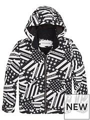 0e69c873c Calvin Klein Jeans Boys Flag Print Hooded Jacket - Black