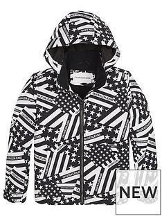 e909cc60 Calvin Klein Jeans Boys Flag Print Hooded Jacket - Black